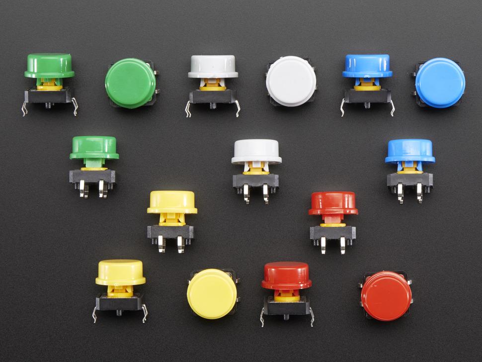 ADAFRUIT ADA1009 - Colorful Round Tactile Button Switc