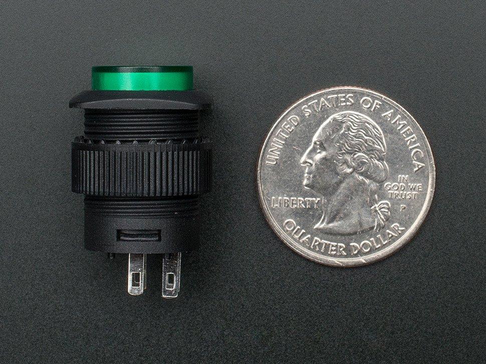16mm Illuminated Pushbutton - Green