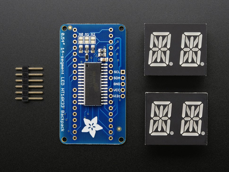 ADAFRUIT ADA1911 - Quad Alphanumeric Display - Red 0.5