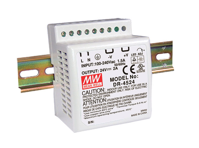 MEAN WELL DR-45-24 - TEHOLÄHDE DIN 45W 24V