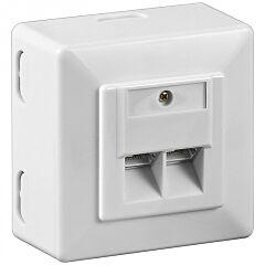 CAT 6 Wall Plate 2 x RJ45 Network Wall Socket Shielded White - WEC68244