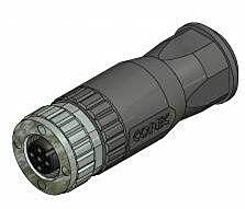 CONEC 43-00130 - M12 Liitin 8 Napainen Naaras / Suora / Kaapeli IP67 - Musta