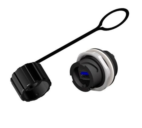 CONEC 17-241001 - USB 3.0 Paneelin Läpivienti Liitin IP67 - Bayonet lukitus