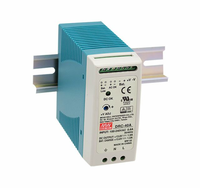 MEAN WELL DRC-40B - DIN Rail Power Supply (UPS) 2-channel 27.6 Vdc 0.95 / 0.5A 40W