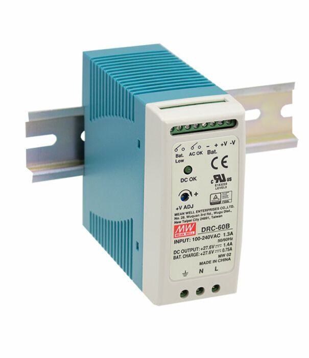 MEAN WELL DRC-60B - DIN Rail Power Supply (UPS) 2-channel 27.6Vdc at 1.4A / 0.75A 60W