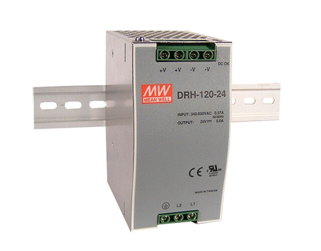 MEAN WELL DRH-120-24 - DIN Rail Power Supply Input 340-550VAC Output 24V 5A