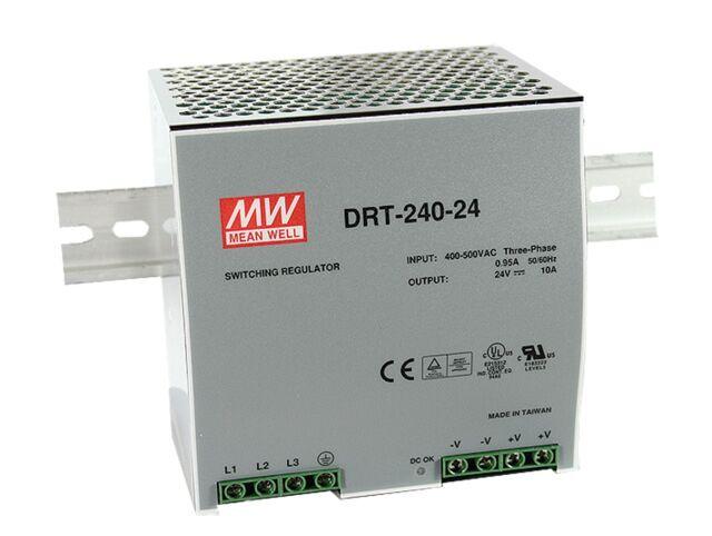 MEAN WELL DRT-240-24 - DIN Kisko Virtalähde 3-vaihe Output 24V 10A