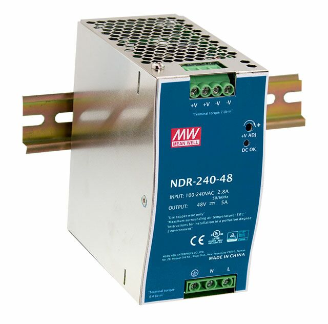 MEAN WELL NDR-240-24 - DIN Rail Power Supply Metal Frame 24V 10A 240W