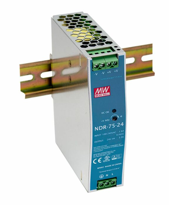 MEAN WELL NDR-75-24 - DIN Rail Power Supply Metal Frame 24V 3.2A 75W