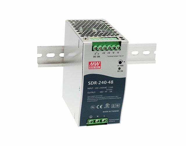 "MEAN WELL SDR-240-48 - DIN Rail ""Slim"" Power Supply Metal Frame 48V 5A 240W"
