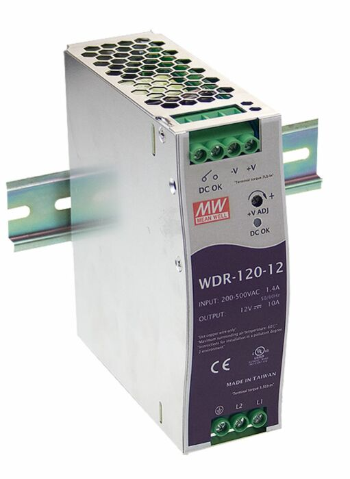 MEAN WELL WDR-120-12 -  DIN Rail Power Supply Input 180-550VAC  Output 12V 10A