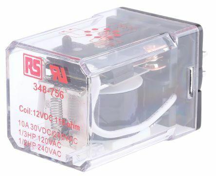 RS Pro  348756 - DPDT yleiskäyttörele 12Vdc 1