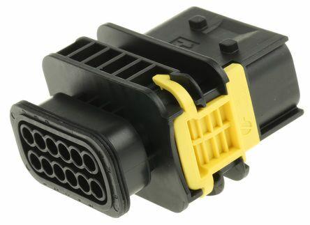 TE 1-1564414-1 - AMP MCP - HDSCS 12nap Uros Liitinrunko Wire-to-Wire - Musta