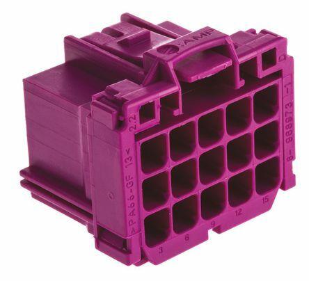 TE 8-968973-1 - AMP MCP 15 Nap Naaras Liitinrunko Wire-to-Wire - Violetti