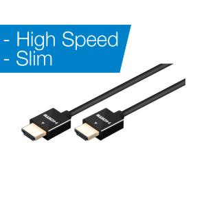 YES HDMI-050SLIM - High speed HDMI-kaapeli 0,5m musta