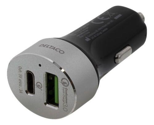DELTACO USBC-CAR101 - Autolaturi 12V->USB-C / USB-A 3A+3A