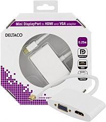 DELTACO DP-HDMIVGA1-K - Mini DP uros/HDMI+VGA naaras 0,25m