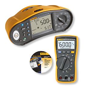 Fluke 1664FC asennustesteri + Fluke 115 yleismittari + softa