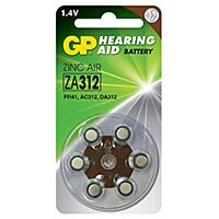 GP BATTERIES ZA312 - HEARING DEVICE BATTERY 1.4V 125mAh