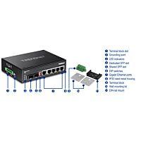 TRENDNET TI-G62 - 6-port hardened Industrial Gigabit Switch (5 Gigabit / 1 shared SFP / 1 dedicated SFP)